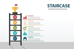 Staircase 5 steps Infographic element background. Ladder of success concept with trophies on the top.Business concept can be used for workflow number steps.Vector illustration flat design.Front view.