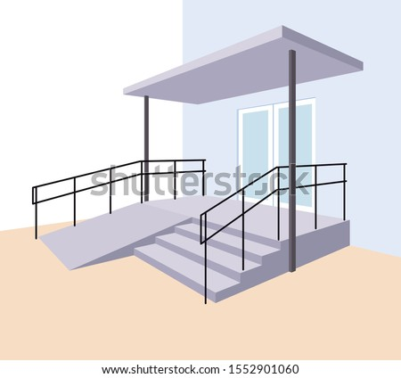 Staircase with ramp for the disabled. Entrance to the building. A device for people with disabilities. Vector illustration Stockfoto ©