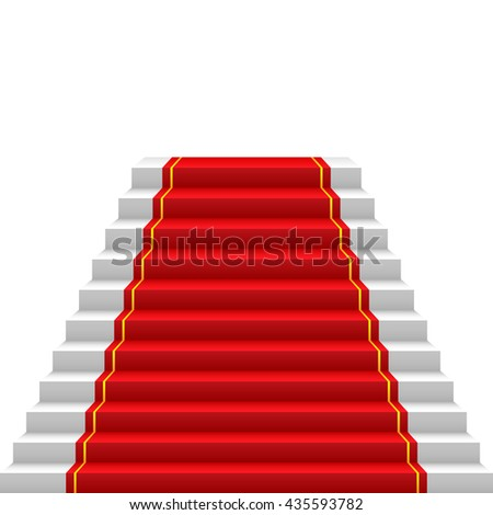 staircase with red carpet red