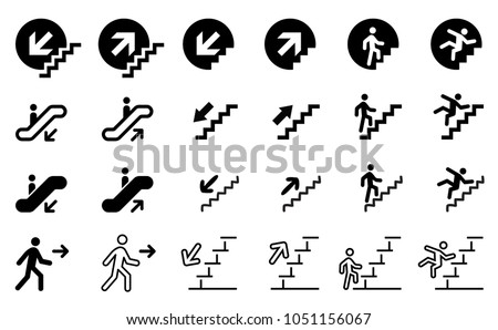 Stairs, climbing, walking set. Go down up. Escalator Airport Elevator. Emergency exit. Man, person running  Foot Walks walking icon vector sign clipart Flame Fire Disaster Misfortune Calamity Warning