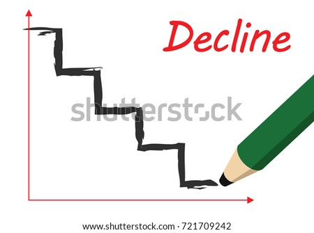 stairs like decline graph, drawn by pencil