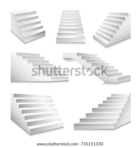Stairs or staircases and podium stairway ladders vector 3D isolated icons set