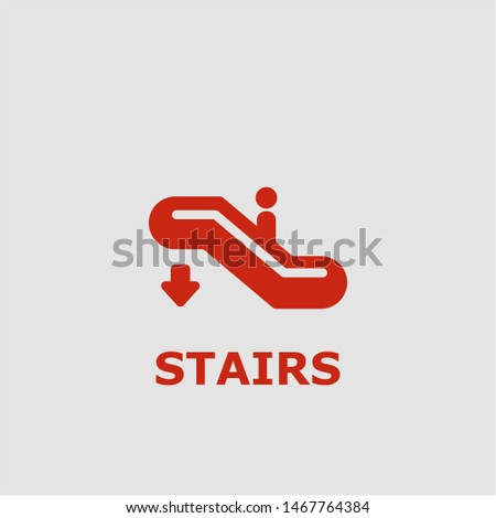 Stairs symbol. Outline stairs icon. Stairs vector illustration for graphic art.