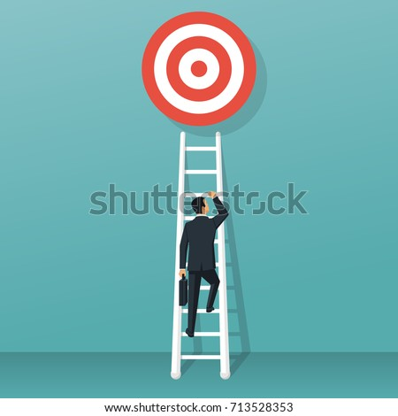 Stairs to goal. Businessman in suit rises up stairs to top of target. Business concept. Vector illustration flat design. Isolated on background. Achieving goal. Ladder wall. Strategy to aim.