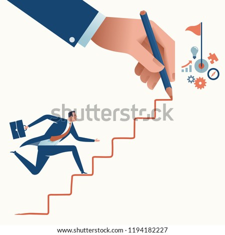 Stairs to the goal. Businessman's hand drawing a line leading to the target. Business vector concept illustration