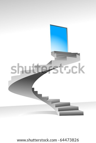 Stairs to up for bright shining door, - stock vector