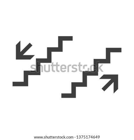 Stairs up and down vector icon