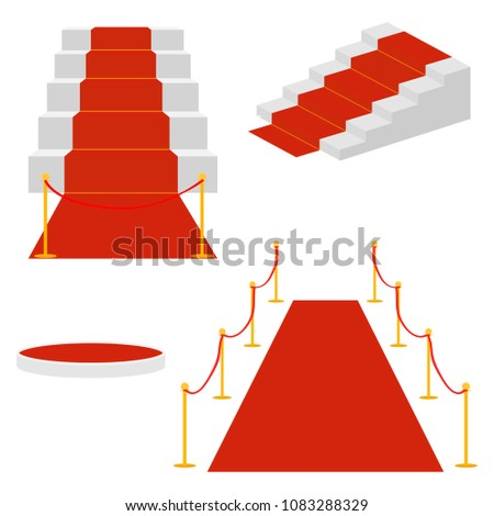 Stairs with a red carpet, a ladder for celebrities. Flat design, vector illustration, vector.
