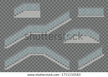 stairs with glass railing