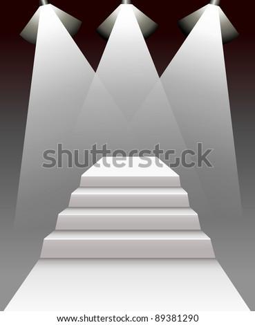 stairway 3d on dark background
