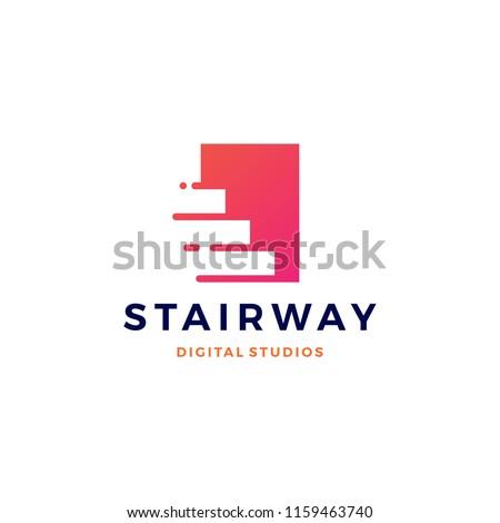 stairway digital tech upstair logo vector icon