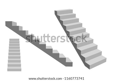 Stairway. Isolated on white background. 3d Vector illustration. Different viewes.