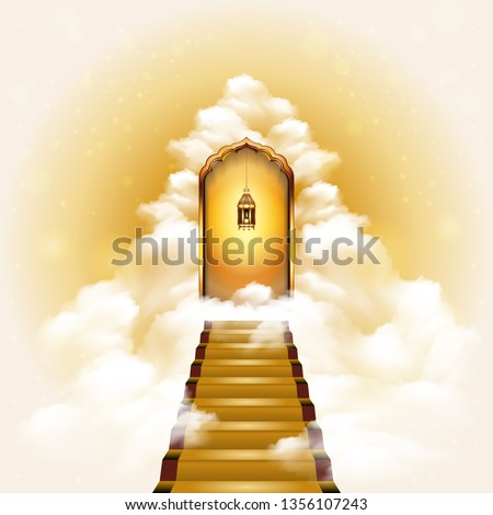Stairway to heaven door with realistic lighted candle lantern. The concept of religions and philosophical topics. Сток-фото ©