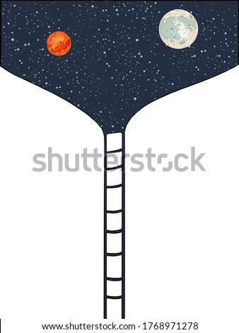 Stairway to space to the moon and Mars. Pop art retro vector illustration kitsch vintage 50s 60s style Stock photo ©