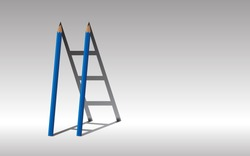 Stairway to success., Blue Two pencils and shadow staircase., Learning to succeed concept., copy space.