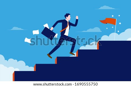 stairway to success   man