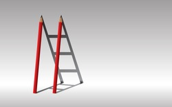 Stairway to success., Red Two pencils and shadow staircase., Learning to succeed concept., copy space.