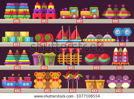 Stall or showcase with kids or children toys