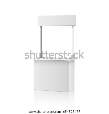 Stall, roll up or blank information promo booth isolated on white background. Vector empty exhibition table stand display. Clear plastic counter mock up or kiosk template for your presentation design