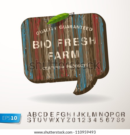 Stamp alphabet and vintage wooden speech bubble, vector Eps10 illustration.