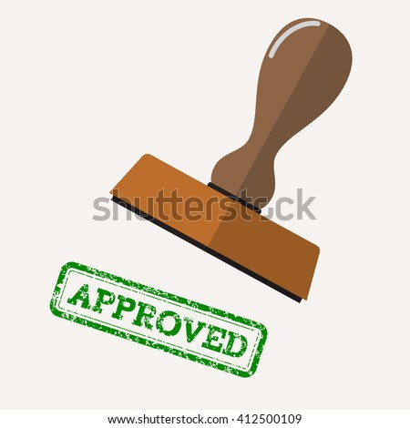 stamp approved in green text over white background.  vector illustration in flat design stock photo