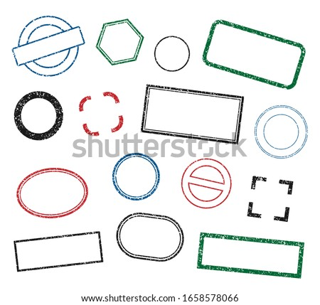 Stamp frame vector set. Grunge style stamps. Rubber ink label sign collection. Isolated on white background. Black, red, green and blue round and square stamp border pack.