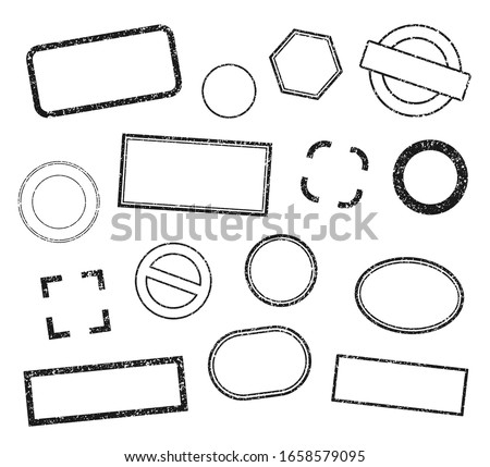 Stamp frame vector set. Grunge style stamps. Rubber ink label sign collection. Isolated on white background. Black round and square stamp border pack.
