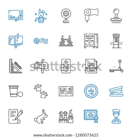 stamp icons set. Collection of stamp with postman, certificate, women only, rabbit, contract, stapler remover, postcard, pawprints, beer pong. Editable and scalable stamp icons.
