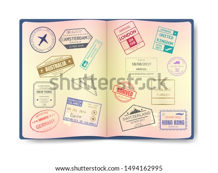 Stamp in passport for traveling an open passport. International arrival visa stamps vector set. International travel document with watermarks, document with visas