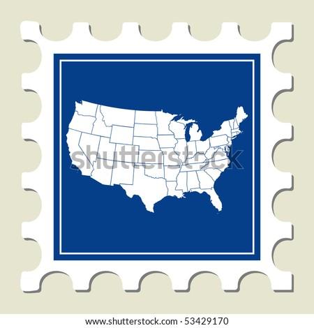 Stamp of USA Map