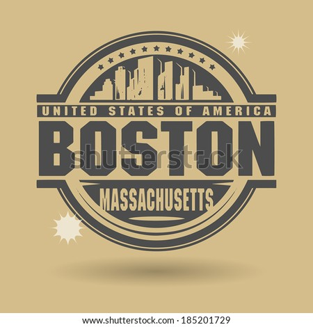 stamp or label with text boston