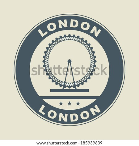 stamp or label with word london