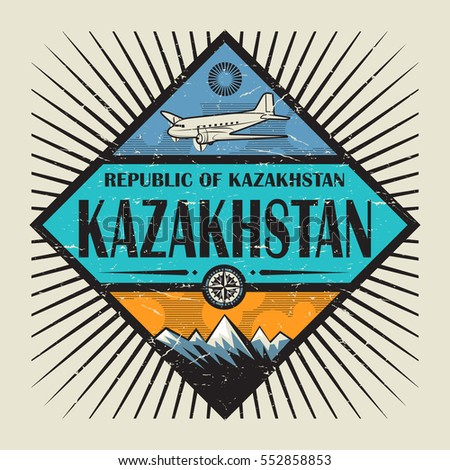 Stamp or vintage emblem with airplane, compass, mountains and text Kazakhstan, vector illustration