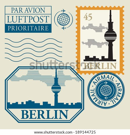 stamp set with word berlin