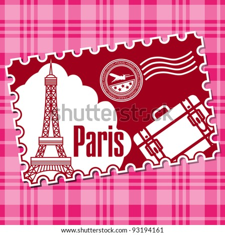 Stamp with a kind on Eiffel tower. In a gallery also accessible variant with a kind on Big Ben (London) and with a kind on Coliseum (Rome).