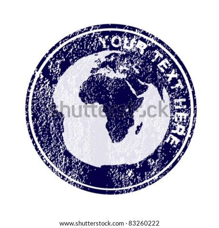 Stamp with Earth globe