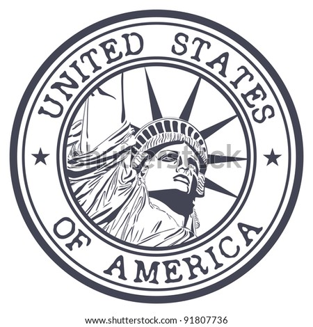 Stamp with liberty statue illustration