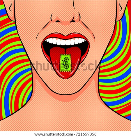 stamp with lsd drug on tongue