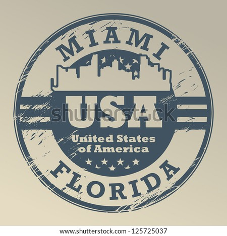 Stamp with name of Florida, Miami, vector