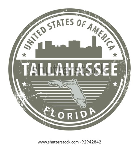 Stamp with name of Florida, Tallahassee, vector
