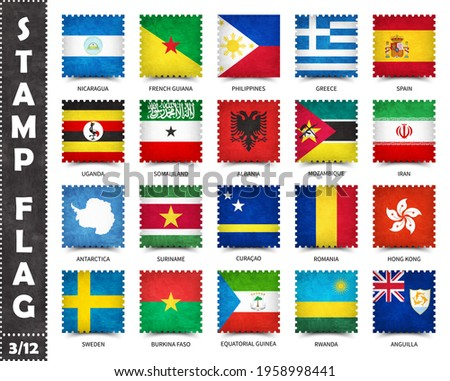 Stamp with official country flag pattern and old grunge texture and countries name . Square shape . Vector . Set 3 of 12 on this series ( All national flags of the world ) .