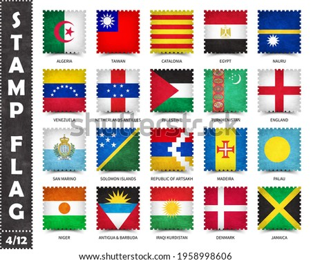 Stamp with official country flag pattern and old grunge texture and countries name . Square shape . Vector . Set 4 of 12 on this series ( All national flags of the world ) .