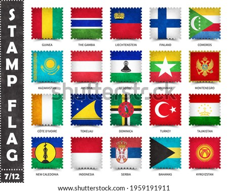 Stamp with official country flag pattern and old grunge texture and countries name . Square shape . Vector . Set 7 of 12 on this series ( All national flags of the world ) . Photo stock ©