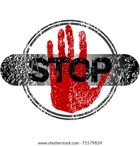 stamp with red hand and stop