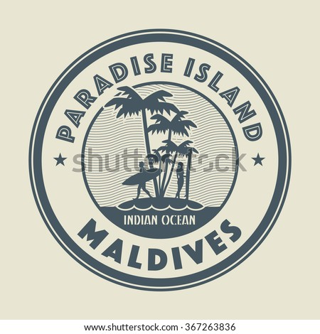 stamp with the palm  island and