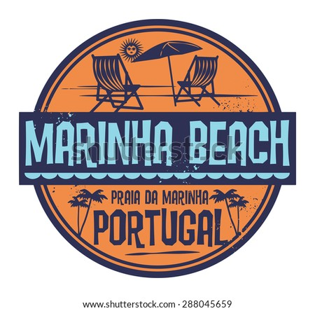 stamp with words marinha beach