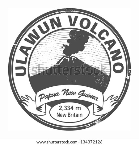 stamp with words ulawun volcano