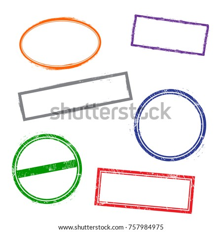 Stamps frames on white background.  Six stamps frames.  Flat design. Vector illustration EPS10.