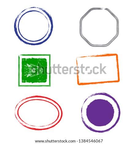 Stamps grunge frames on white background.  Six stamps frames for presentations, flyers, leaflets, postcards and posters.  Flat design. Vector illustration EPS10.