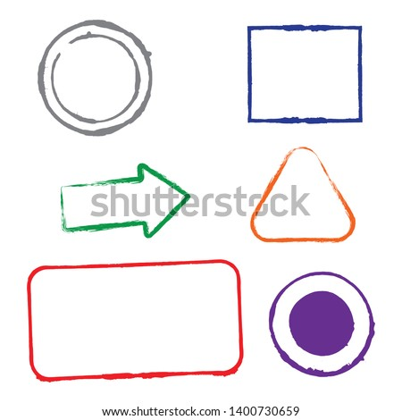 Stamps grunge frames on white background.  Six stamps frames for presentations, flyers, leaflets, postcards and posters.  Flat design. Vector illustration EPS10.